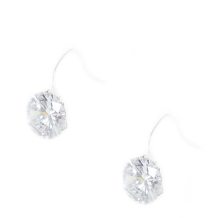 10MM Round Cubic Zirconia Silver-tone Drop Earrings,