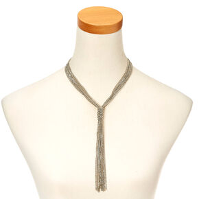 Silver-Tone Thick Multi-chain Tassel Necklace,