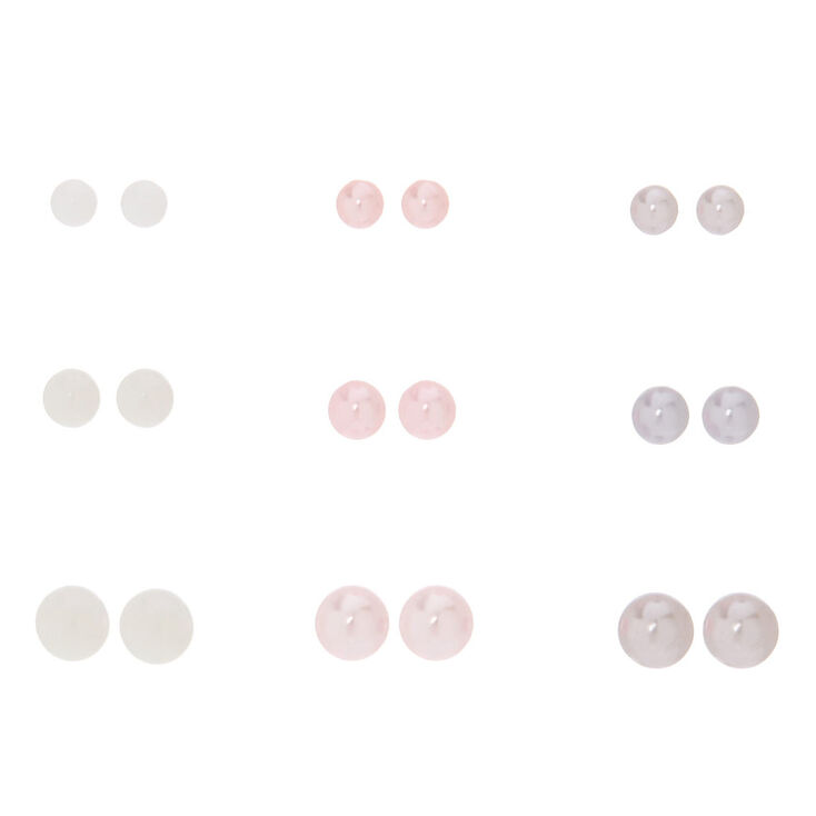 9 Pack Graduated Faux Pearl Stud Earrings,