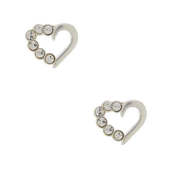 Sterling Silver Half Crystal Heart Stud Earrings,