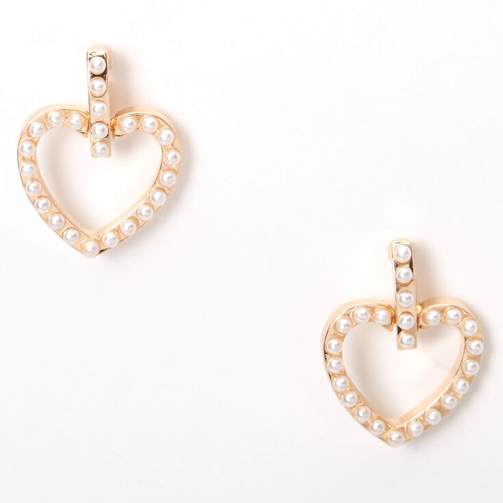 Gold Pearl Heart Dangly Stud Earrings,