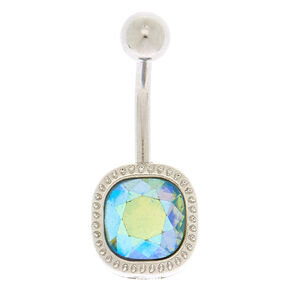 Silver 14G Holographic Halo Belly Ring - Turquoise,