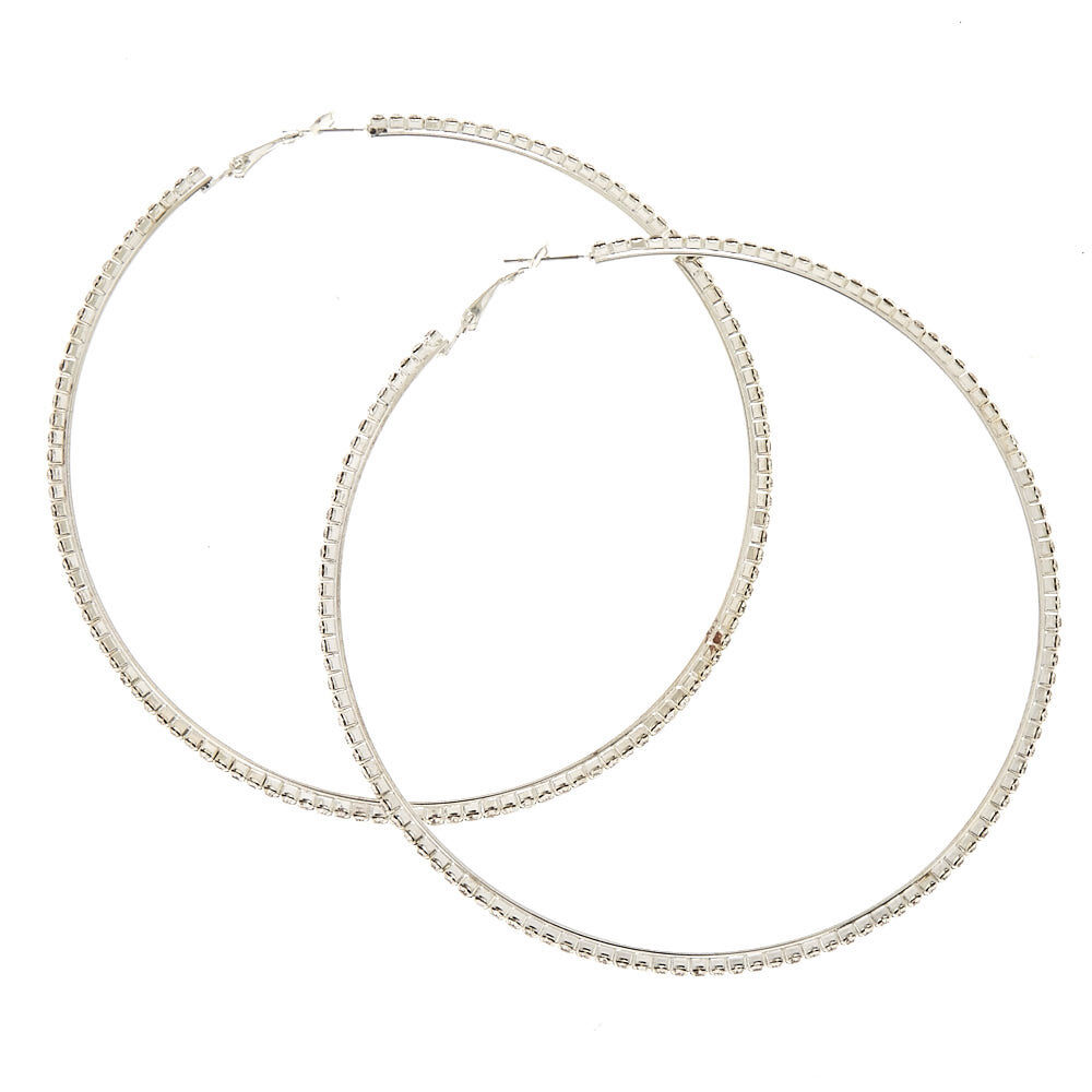 100MM Faux Crystal Lined Silver Tone Hoop Earrings