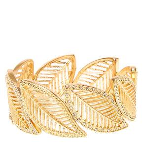 Gold Glitter Feather Stretch Bracelet,