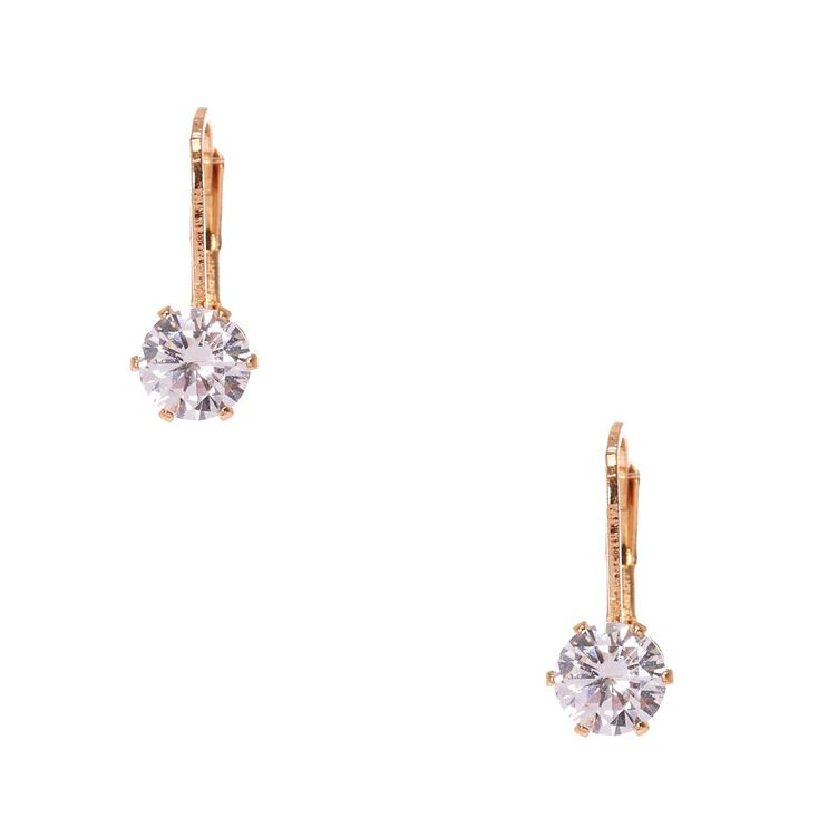Cubic Zirconia Gold Tone Mini Hoop Earrings,