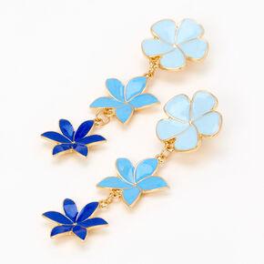 """Gold 2.5"""" Ombre Flower Linear Drop Earrings  - Blue,"""
