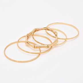 Gold Hammered Bamboo Bangle Bracelets - 5 Pack,