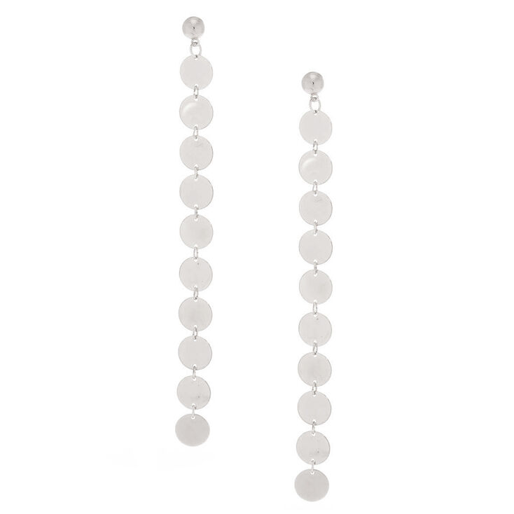 "Silver 5"" Disk Drop Earrings,"