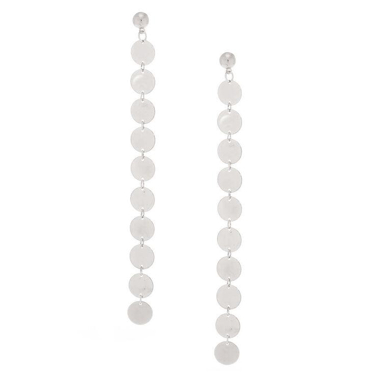 """Silver 5"""" Disk Drop Earrings,"""