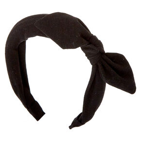 Solid Knotted Bow Headband - Black,