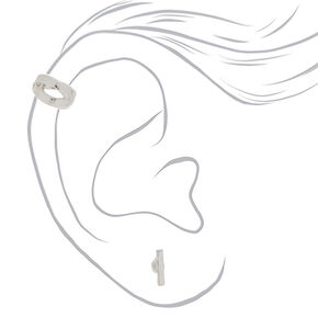 Silver Earrings, 3 Pack + Free Ear Cuff,