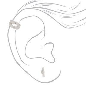 Silver Earrings, 3 Pack + Free Ear Cuff,