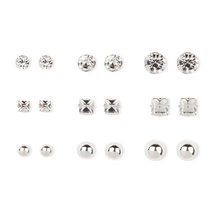 Silver Tone Ball & Glass Stone Stud Earrings,