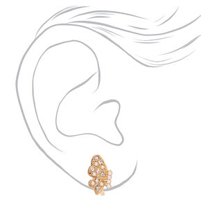 Gold Embellished Butterfly Wing Clip On Stud Earrings,
