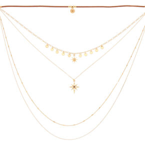Gold Starburst Multi Strand Choker Necklace,