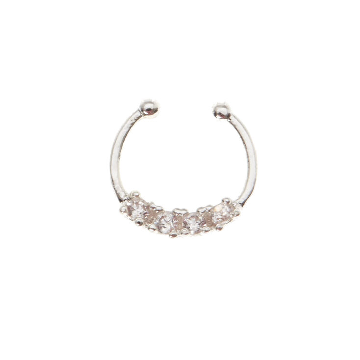 Silver Crystal Faux Nose Ring,