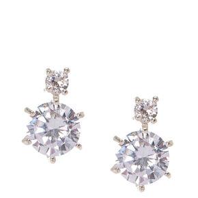 Double Cubic Zirconia Stud Earrings,