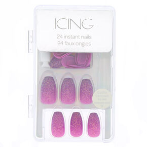 Ombre Glitter Faux Nail Set - Purple, 24 Pack,