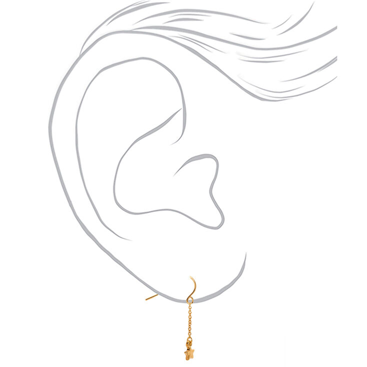 "18kt Gold Plated 1"" Celestial Drop Earrings,"