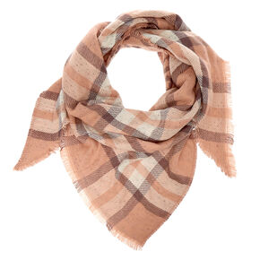 Plaid & Leopard Reversible Oversized Scarf - Blush,