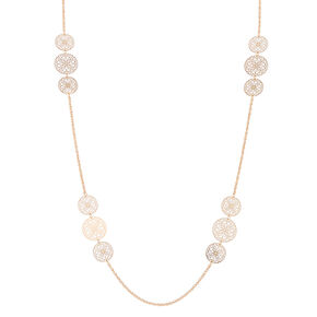 Gold Filigree Long Necklace,