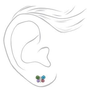Sterling Silver Rainbow Pastel Butterfly Stud Earrings,