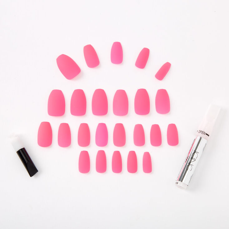 Neon Matte Coffin Faux Nail Set - Pink, 24 Pack,
