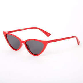 Winged Cat Eye Sunglasses - Red,
