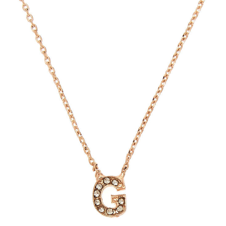 Rose Gold Studded Initial Necklace - G,