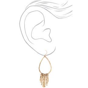"""Gold 2.5"""" Hammered Teardrop Drop Earrings,"""
