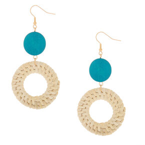 "Gold 3"" Round Straw Drop Earrings - Turquoise,"