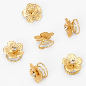 Gold Glam Flower Hair Spinners - 6 Pack,