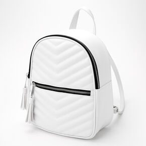 Chevron Quilted Small Backpack - White,