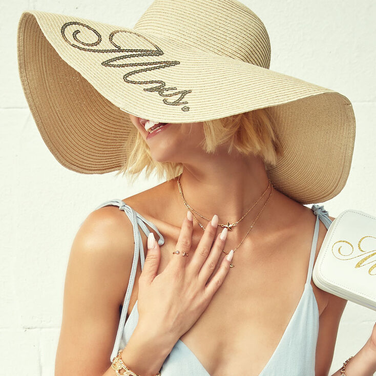 Mrs. Sequin Oversized Floppy Straw Sun Hat,
