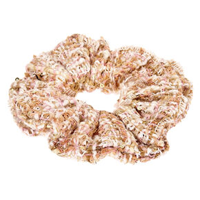 Pink & Gold Tweed Hair Scrunchie,