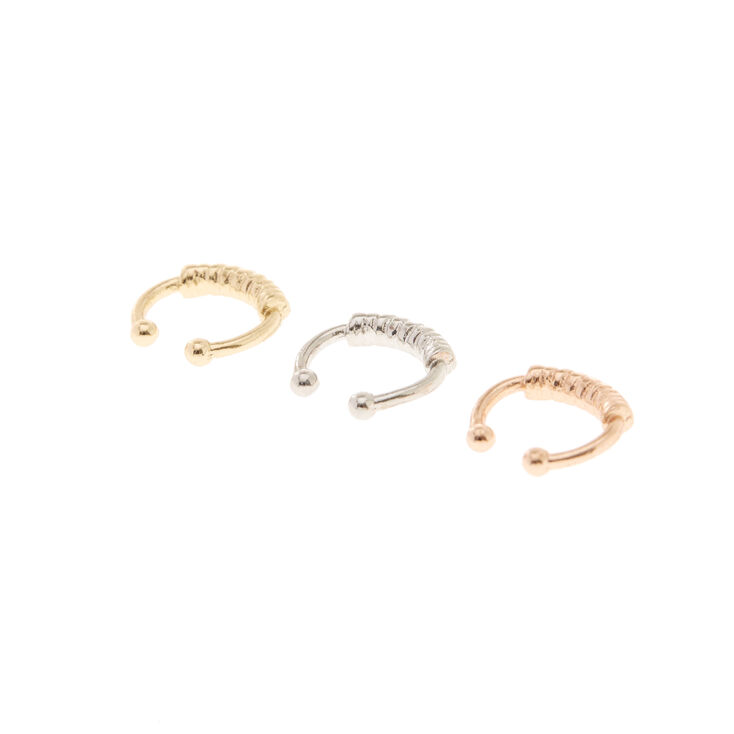 Mini Mixed Metal Faux Nose Rings - 3 Pack,