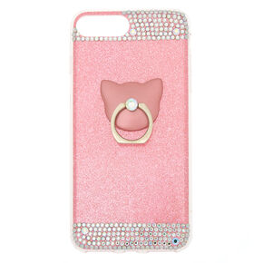 Cat Glam Ring Stand Phone Case - Pink,