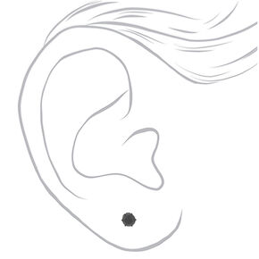 Hematite Titanium Cubic Zirconia 5MM Round Stud Earrings - Black,