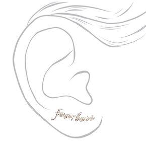 Silver Tone Cursive Fearless Ear Crawlers,