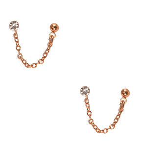 18Kt Rose Gold Plated Crystal Connect Earrings,