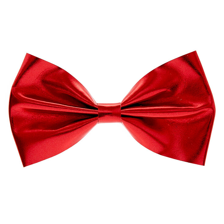 Mini Red Glitter Bow Hair Barrette,