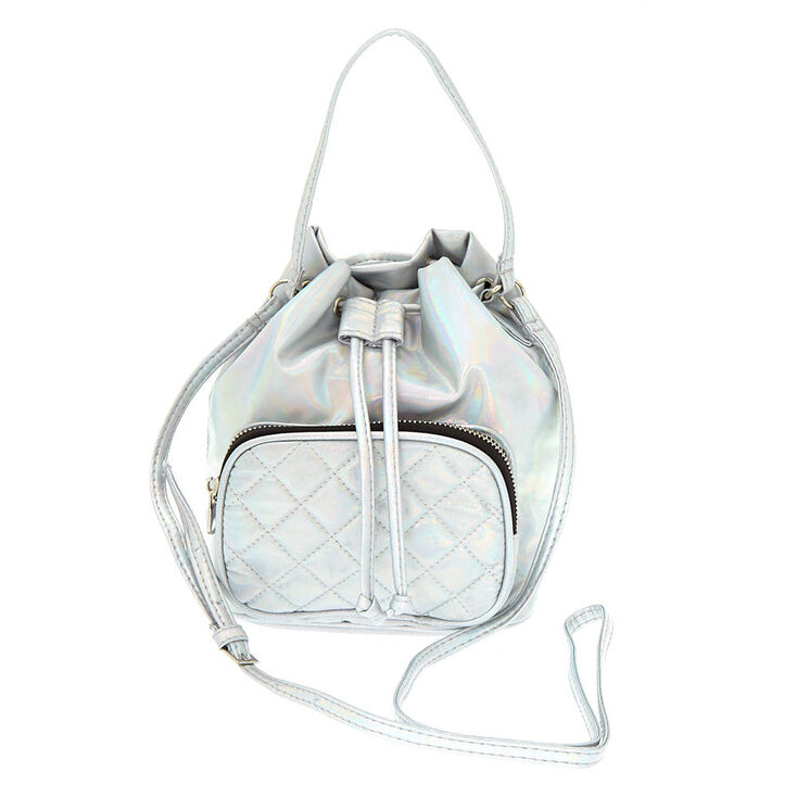 Holographic Mini Bucket Crossbody Bag - Silver,