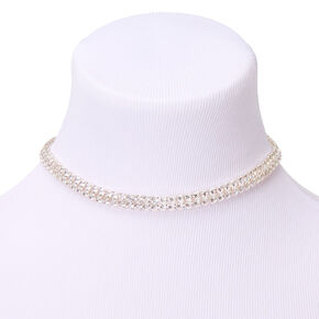 Silver Double Row Rhinestone Glam Choker Necklace,