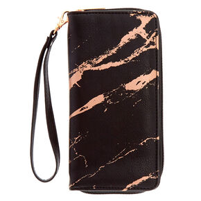 Black & Rose Gold Marbled Wristlet Wallet,