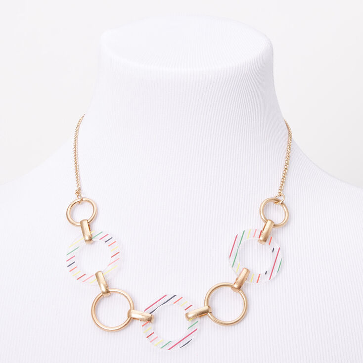 Gold Rainbow Striped Circle Link Statement Necklace,