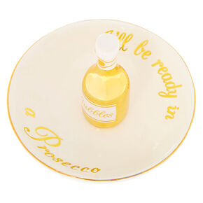 I'll Be Ready In A Prosecco Jewelry Holder Tray - White,