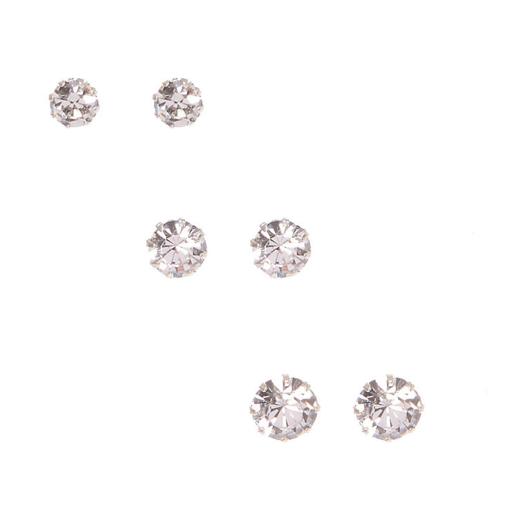 Silver Tone Framed Graduated Round Crystal Stud Earrings