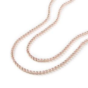 Rose Gold Silk Rhinestone Multi Strand Necklace,