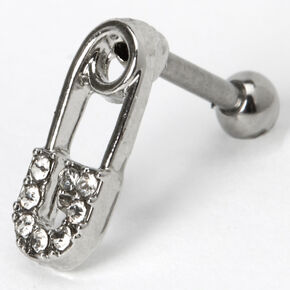 Silver 16G Crystal Safety Pin Cartilage Earring,