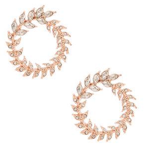 Rose Gold Rhinestone Wreath Stud Earrings,